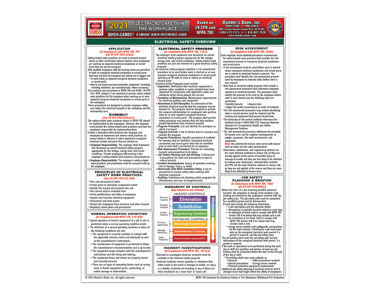 Electrical Safety In The Workplace Quick-Card