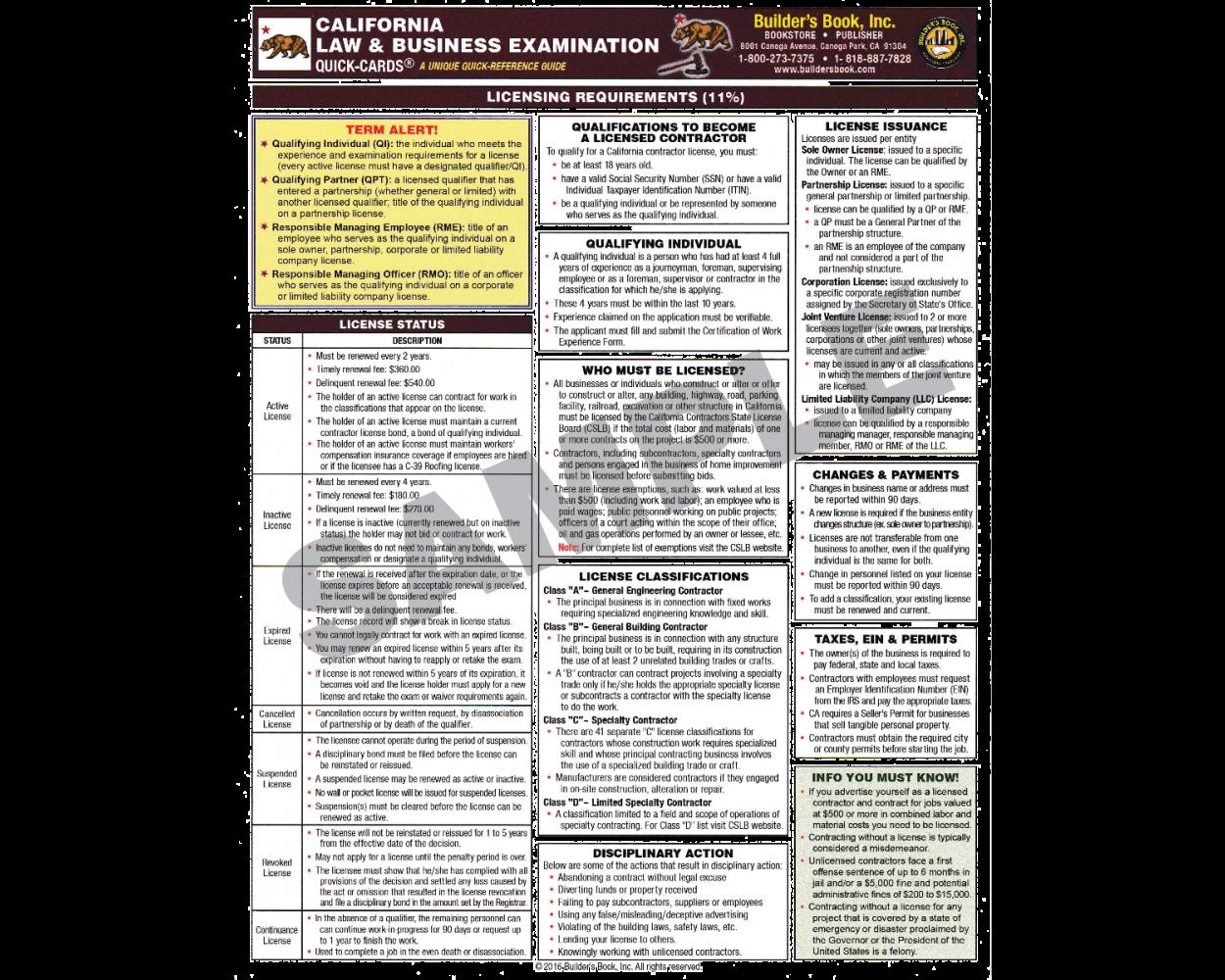 California Law & Business Exam Prep